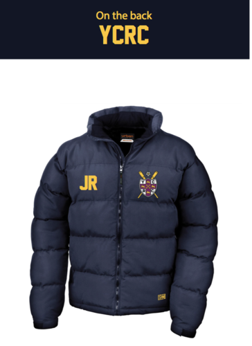 York City Rowing Navy Unisex Puffa (Logo Embroidery, Everything Else Print)