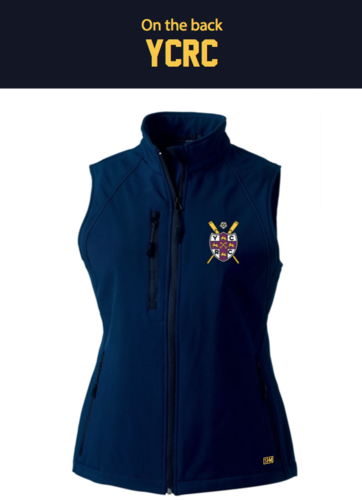 York Rowing Navy Womens Gilet Softshell (Logo Embroidery, Everything Else Print)