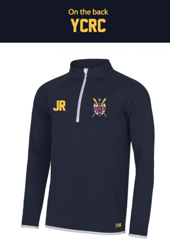 York City Rowing Navy Mens Performance Sweatshirt (Logo Embroidery, Everything Else Print)