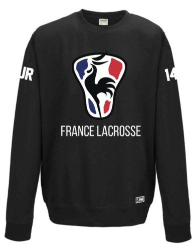France Lacrosse Unisex Black Sweatshirt (All Print)