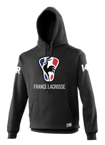 France Lacrosse Black Unisex Hoody (All Print)
