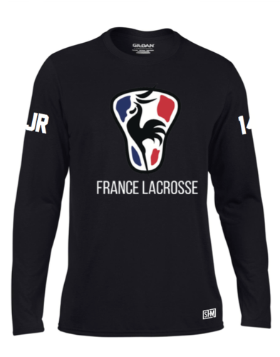 France Lacrosse Black Womens Long Sleeved Performance Tee (All Print)