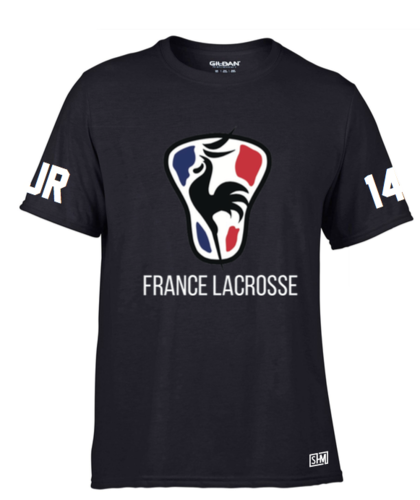 France Lacrosse Black Mens Performance Tee (All Print)