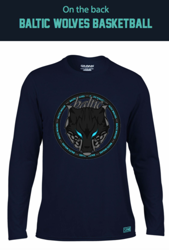 Baltic Basketball Navy Mens Long Sleeved Performance Tee (All Print)