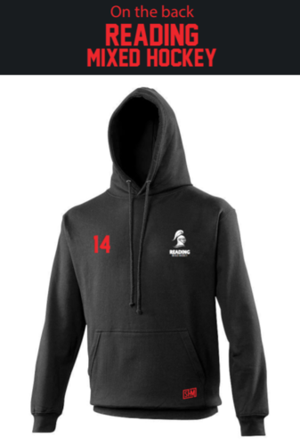 Reading University Mixed Hockey Black Unisex Hoody (Everything Embroidery, Except Print To Back)