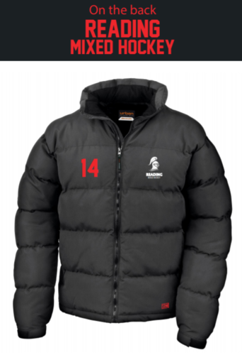 Reading University Mixed Hockey Black Unisex Puffa (Everything Embroidery Except Text To Back)