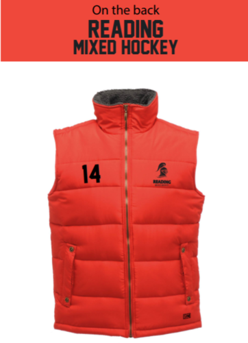 Reading University Mixed Hockey Red Unisex Gilet (All Embroidery, Except Text To Back)