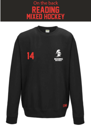 Reading University Mixed Hockey Black Unisex Sweatshirt (All Embroidery Except Text To Back Print)