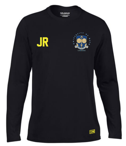 Bath Uni Lacrosse Black Mens Long Sleeved Performance Tee With Back Print (All Print)