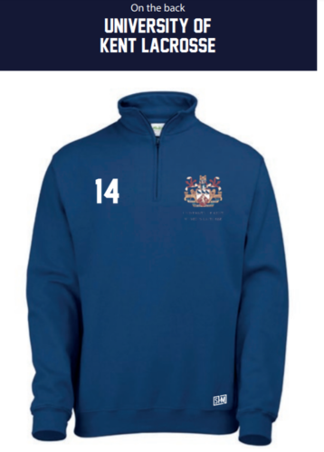 Kent Lacrosse Navy Unisex 1/4 Sweatshirt (Logo Embroidery, Everything Else Print)