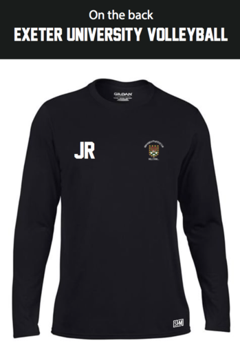 Exeter Volleyball Black Mens Long Sleeved Performance Tee (All Print)