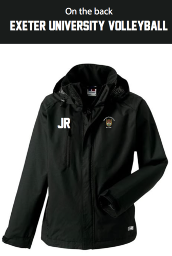 Exeter Volleyball Black Womens Hydroplus Jacket (Logo Embroidery, Everything Else Print)