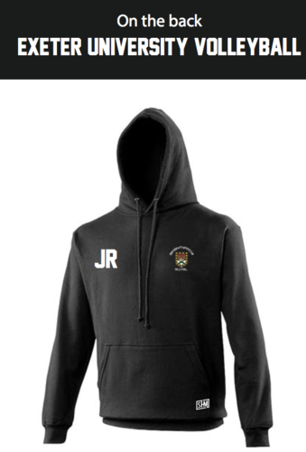 Exeter Volleyball Black Unisex Hoody (Logo Embroidery, Everything Else Print)