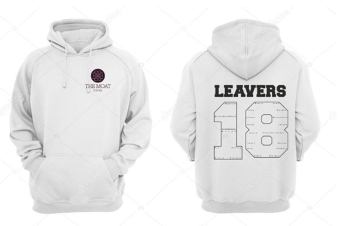 The Moat Unisex Leavers Hoodie (Logo Embroidery, Everything Else Print)