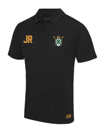 Plymouth Rowing Black Mens Performance Polo (Logo Embroidery, Everything Else Print)