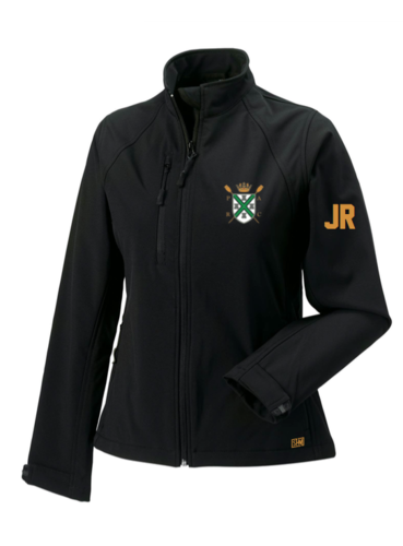 Plymouth Rowing Black Womens Softshell Jacket (Logo Embroidery, Everything Else Print)