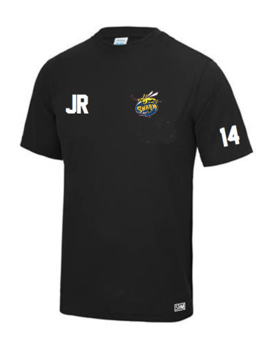 Manchester Swarm Black Mens Performance Tee (All Embroidery)