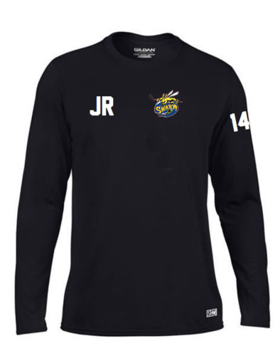 Manchester Swarm Black Mens Long Sleeved Performance Tee (All Embroidery)
