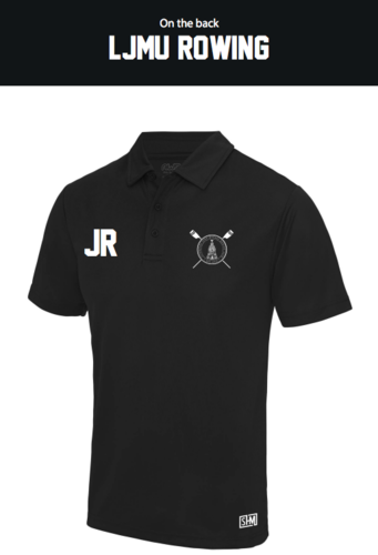 LJMU Rowing Black Mens Performance Polo (Logo Embroidery, Everything Else Print)