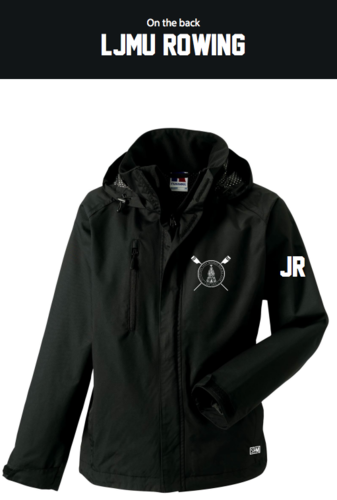 LJMU Rowing Black Womens Hydroplus Jacket (Logo Embroidery, Everything Else Print)